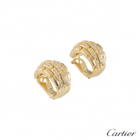 Cartier Yellow Gold Diamonds Maillon Panthere Earrings B8000100